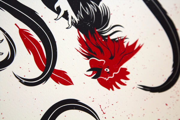 Detail photo of Cock Fight art print