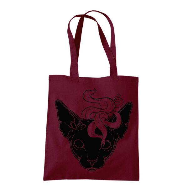 Product photo of Mystic Cat tote bag burgundy