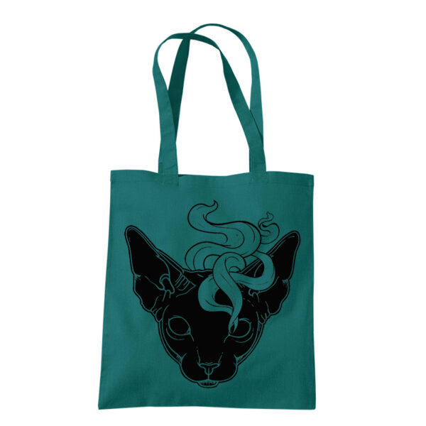 product photo Mystic Cat tote bag light petrol
