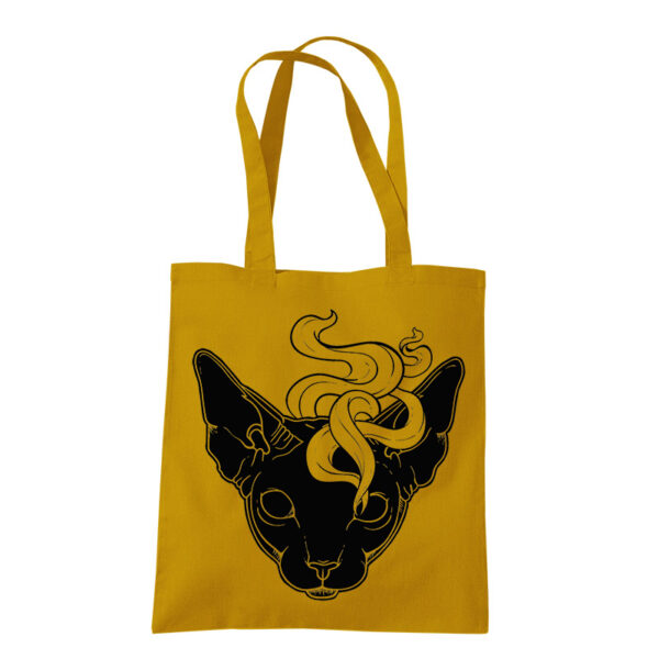 product photo of Mystic Cat tote bag mustard