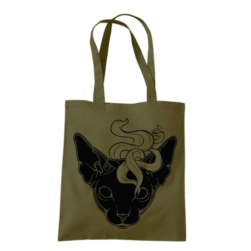 product photo of Mystic Cat tote bag olive green