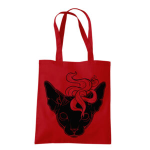 product photo of Mystic Cat red tote bag