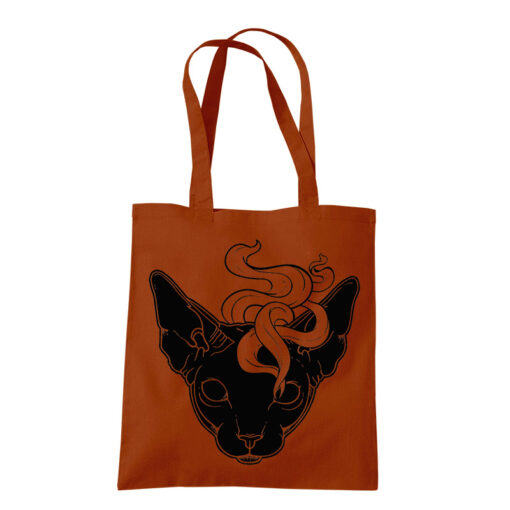 product photo of Mystic Cat tote bag rust color